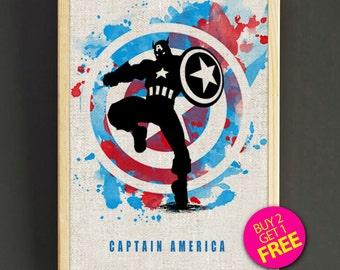 Captain America Print, Superhero Painting, Marvel Avengers Poster, Watercolor Art, Kids Decor, Playroom Decor, Gift - FREE SHIPPING - 56s2g