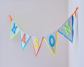 Curious George Felt Bunting Pennant Banner / Grey Yellow Green Orange & Blue / Name Baby Shower Birthday Banner / Other Colors Available