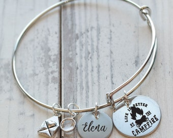 Life is Better by the Campfire  Bangle Bracelet