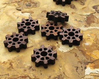 """Steampunk Wood Gear Minis 3/4"""" with Nine Cutouts  -  Itsies - Black Walnut Wood Charms by Timber Green Woods"""