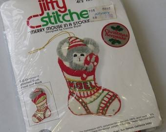 Vintage Sunset Designs Jiffy Stitchery Christmas Keepsake MOUSE in a STOCKING Kit #102