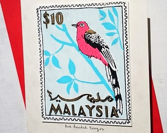 Red Headed Toraco/Malaysia stamp card