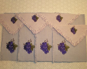 8-Piece Placemats With Matching Napkins-Purple Grapes Motif