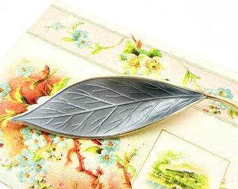 Vintage DAVID ANDERSEN BROOCH Norway Gilt Sterling Silver Sky Blue Guilloche Enamel Leaf Form Pin Brooch Willy Winnaess