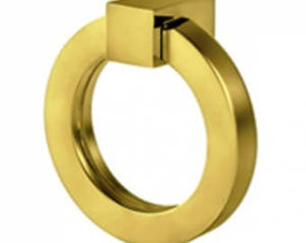 """Cabinet Pulls-Solid Brass 4"""" Round Ring Pulls-Brass Pulls- Round Pulls Drawer Pulls"""