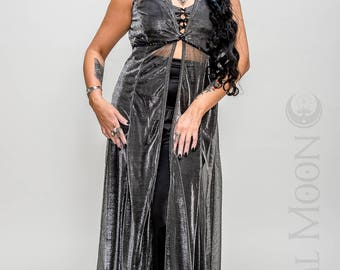 """Limited Edition: The """"Sorceress Duster"""" Long Vest with Amulet on Hood in Silver or Gold Sheer Mesh by Opal Moon Designs (Sizes S-XL)"""