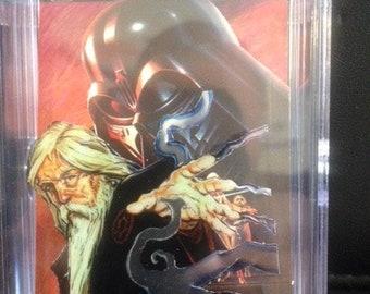 Star Wars original 3D pop up art cards hand made-chrome-Grey Jedi-Luke-Vader