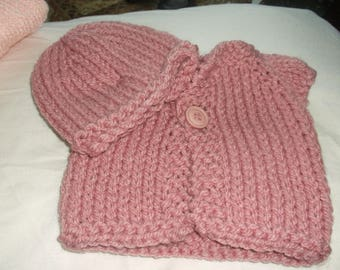 "14"" Baby Cardigan and Hat"