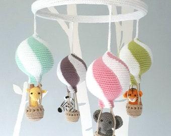 Nursery mobile, hot air balloon baby mobile, mobile baby, mobile bebe