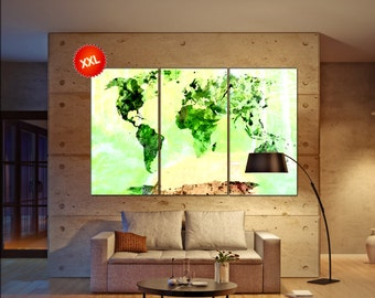 Green world map  print on canvas wall art Green world map  Art Print artwork large world map Print home office decoration
