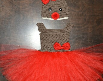 Christmas Reindeer Hat & Matching Tutu Dress Rudolph Handmade Crochet Baby Beanie Hat Photo Prop Custom Made