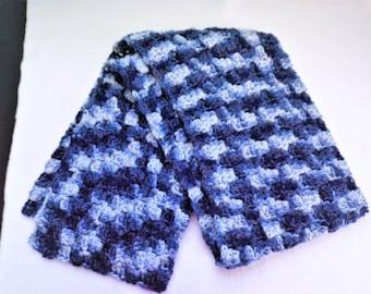 Denims Ombre scarf, denim scarf, adult scarf, scarf, crochet scarf, handmade scarf, corner to corner scarf, blue scarf, shades of blue scarf