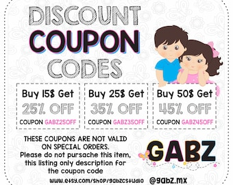 Discount Coupon Codes, GABZ, Sale, Clipart, Digital Papers, Not applicable for licenses and special services. Non-exclusive.