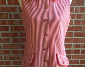 Vintage 60s Jack Winter red and white striped sleeveless button down shirt. Size L