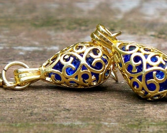 Recycled Noxzema Bottle Gold Filigree Teardrop Earrings/Gold Jewelry/Bridesmaid Gift/Old Bottles/Gift for Her/Cobalt Blue Glass