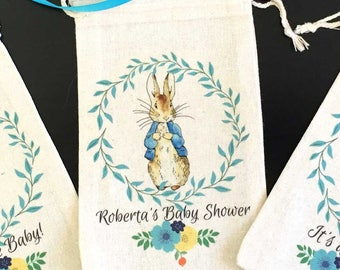 Peter Rabbit Baby Shower Party Favor Bags | Thank You Gifts | Girl Boy Baby Shower | Beatrix Potter One Year Birthday | Set of 10 | 4x6 6x8