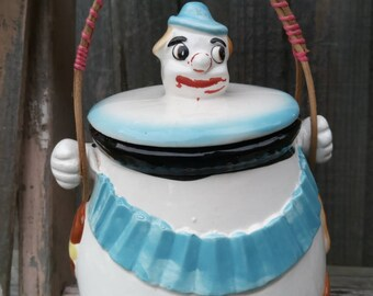Vintage Clown Cookie Jar * Biscuit Barrel * Cookie Container * Ceramic * Made in Japan * Superior Brand pottery * 1950s