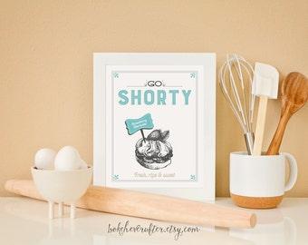 Kitchen Strawberry Shortcake Print - Go Shorty - Retro aqua cream vintage inspired typography dessert pastry bakery poster art decor 8x10