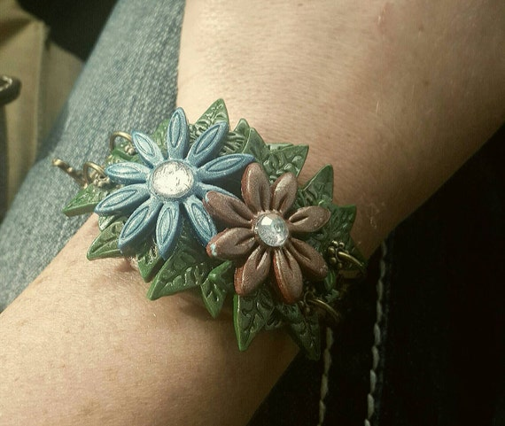 Flower and Ivy bangle bracelet, polymer clay