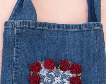 Valentines recycled Jeans Bag