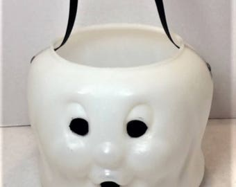 White ghost blow mold Trick-or-Treat bucket