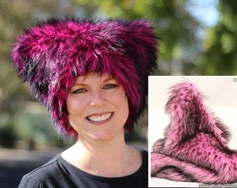 Pink Pussy hat  - Mi Vida Rosa faux fur Kitty hat - MAGENTA or PINK & black fur, black fleece lined - Womens March on Washington Impeachment