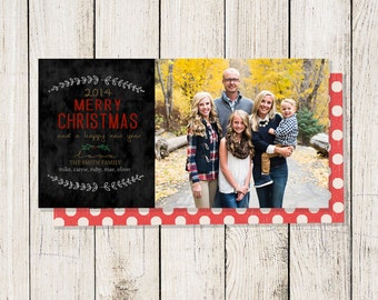 Holiday Cards: 4X8 Blackboard Christmas Card (Digital File or Printed Cards)