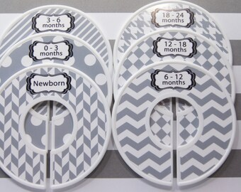 Custom Baby Closet Dividers Baby Shower Gift Gray White Harringbone Dots Stripes Chevron Closet Organizer Finished Product