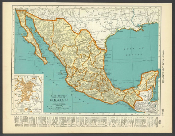 Vintage map mexico from 1937 original gumiabroncs Choice Image