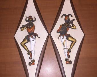 Vintage Wooden Harlequin Jester Wall Hanger 1970s