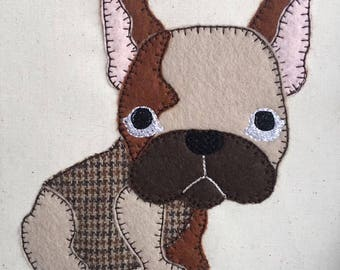 French Bulldog Blanket Stitch Applique Machine Embroidery design, 5x7 - By Pixie Willow Patterns