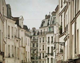 Rue Mouffetard, Paris Print, Beige, Gray, Travel, Rustic Kitchen Decor, Neutral, Paris Street, Paris Roofs, Vertical Photo