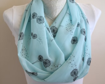 Dandelion Seed Scarf Dandelion Infinity Scarf Turquoise Fashion Accessories Make a Wish Mother's Day Gifts for Mom Loop Scarf