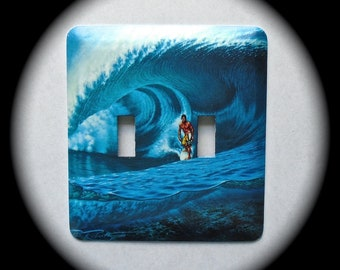 METAL Decorative Double Switch Plate ~ Surf, Ocean, Surfboard, Light Switchplate, Switch Plate Cover, Home Decor