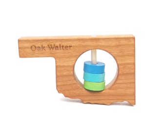 OKLAHOMA State Baby Rattle™ - Modern Wooden Baby Toy - Organic and Natural