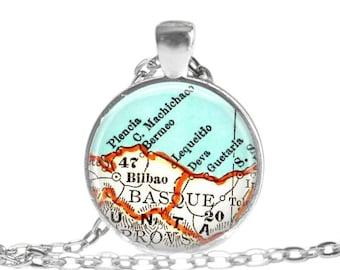 custom Bilboa, Spain necklace pendant charm, Gifts for Grandma, anniversary gift, grandma gift, grandparent gift, gifts for mom