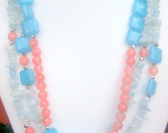 Genuine Aquamarine and Pastel Orange Color Block Necklace