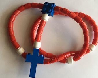 Rosary made of Lego Bricks - Red, White & Blue Catholic Rosary