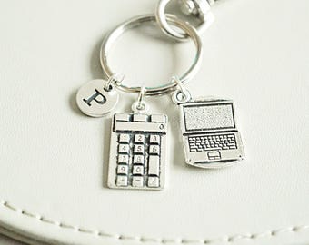 Gift for geek, Computer geek gift, Laptop Key chain, Laptop keyring,  laptop keyring, it geek, Calculator, Accountant, Office, Technology