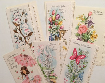 Vintage Unused Cards Get Well Thinking of You Happy Birthday Vintage Girl in Pink Hostess Gift