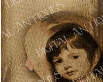 Vintage Ladies  Portrait Tags Sepia Instant Digital Download
