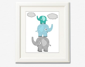 Aqua, Teal and grey ELEPHANT nursery Art Print - 8x10 - Children wall art, baby boy wall decor, stacked elephants - UNFRAMED