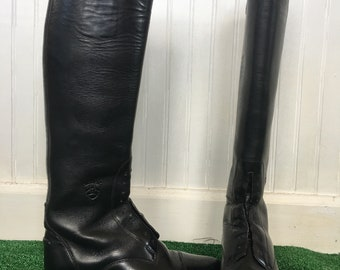 Rare 90s Vintage Ariat Black Leather Riding Boots Size 7  EU 37.5 UK 4.5 Shoes Horses Boot Tall