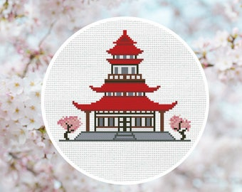 Cross Stitch Pattern Asian house with sakura Instant Download PDF Counted Chart