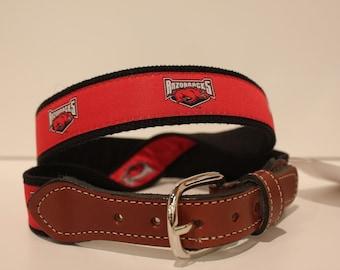 University of Arkansas  Men's  Web Leather Belt