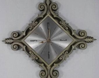 Mid century modern wall clock retro starburst vintage decor