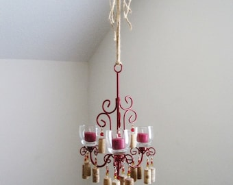 Wine Themed 3 Candle Chandelier MADE TO ORDER