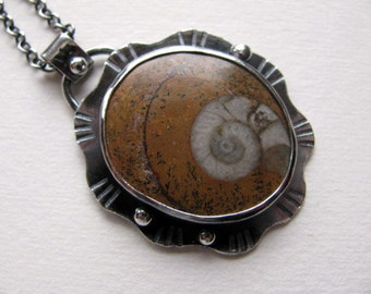 Sterling Silver Fossil Pendant, Ammonite Fossil Necklace, Handmade Sterling Silver Jewelry
