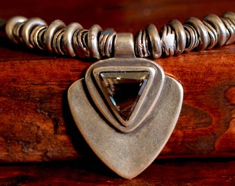 Leather Necklace Swarovski Necklace Swarovski Crystal Necklace Gray Crystal Jewelry Hill Tribe Silver Necklace Choker Necklace Gift For Her