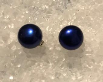 Royal Blue freshwater pearl stud earrings